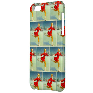 Skaters Waltz Retro Winter Scene Tiled iPhone 5C Cases