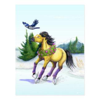 Skating Christmas Horse Postcard