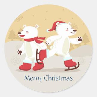 Skating Christmas Polar Bears Sticker
