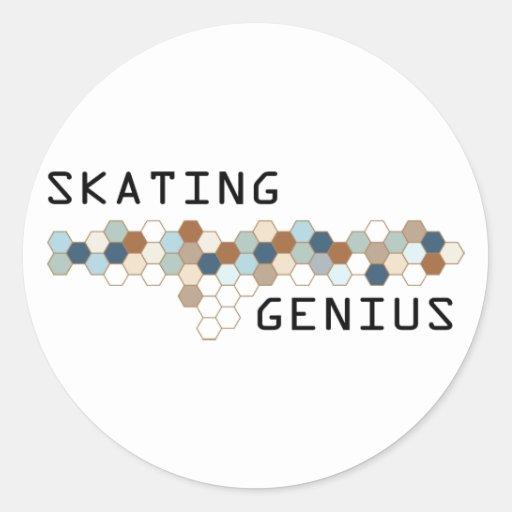 Skating Genius Round Stickers