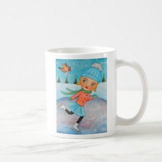 Skating Girl Mug Winter Art Gift Mug Winter Lover