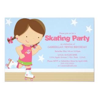 Skating Party | Brunette girl Card
