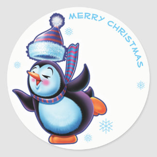 Skating penguin Christmas label sticker