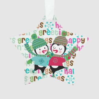 Skating Penguins Custom Holiday Acrylic Ornament