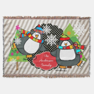 Skating Penguins Personalized Holiday Throw