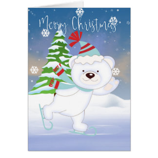 Skating Polar Bear, Christmas Card