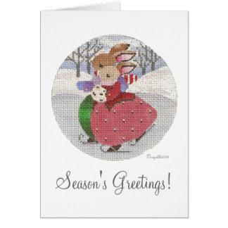 skating rabbits season's greetings card
