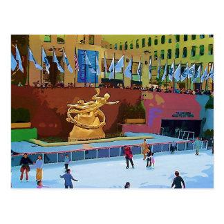 Skating Rink, Rockefeller Center, New York City Postcard