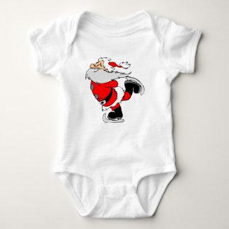 Skating Santa Claus on Christmas Baby Bodysuit