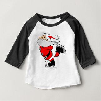 Skating Santa Claus on Christmas Baby T-Shirt