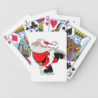 Skating Santa Claus on Christmas Bicycle Playing Cards