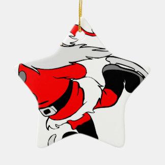 Skating Santa Claus on Christmas Ceramic Ornament