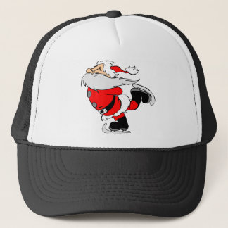 Skating Santa Claus on Christmas Trucker Hat