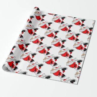 Skating Santa Claus on Christmas Wrapping Paper
