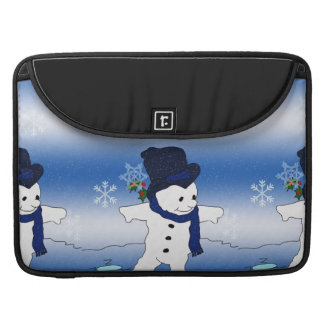 Skating Snowman in Blue Sleeve For MacBooks