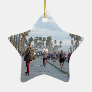 skating to venice beach ceramic star ornament