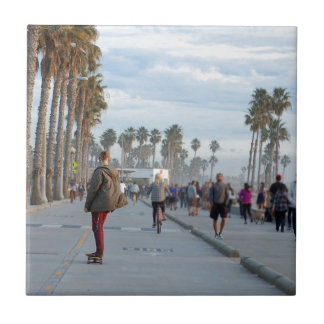 skating to venice beach tile