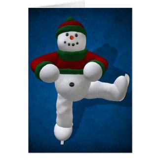 Skating Vintage Snowman Card