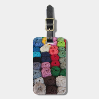 Skeins of yarn luggage tag