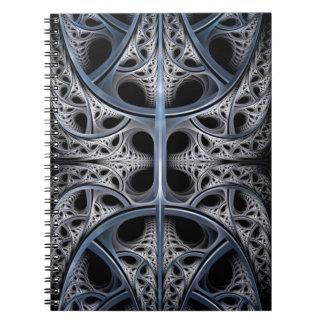Skeletal Hall fractal art Spiral Notebooks