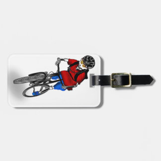 Skeletal Mountain Biker Luggage Tag