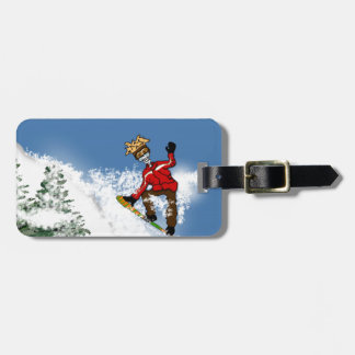 Skeletal Snow Boarder Luggage Tag