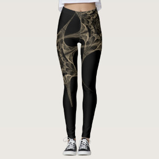 Skeletal Spider Web Black Leggings