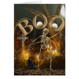 Skeleton and Grave Halloween Card