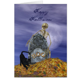 Skeleton and Grave Stone Card