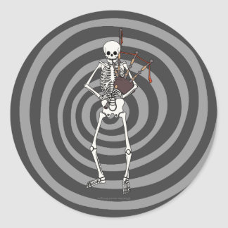 Skeleton Bagpipe Player Classic Round Sticker