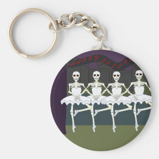 Skeleton Ballerinas Basic Round Button Keychain