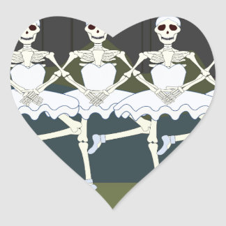 Skeleton Ballerinas Heart Sticker