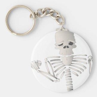 Skeleton Basic Round Button Keychain