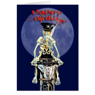Skeleton biker birthday card