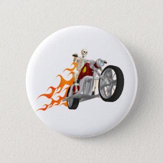 Skeleton Biker & Flames: 2 Inch Round Button