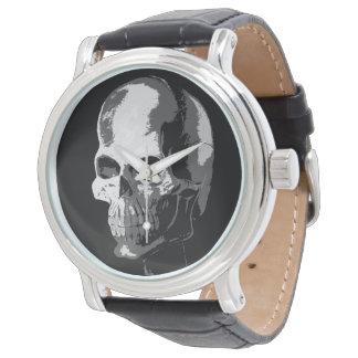 Skeleton black and white watch