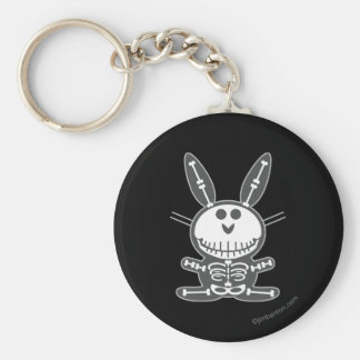 Skeleton Bunny Basic Round Button Keychain