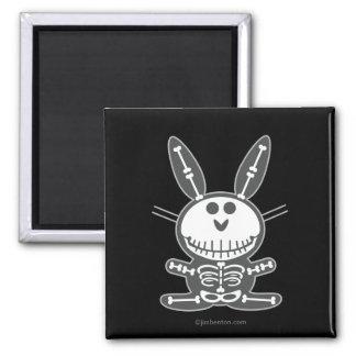 Skeleton Bunny Square Magnet