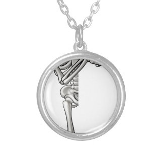 Skeleton Cartoon Character Pointing Silver Plated Necklace