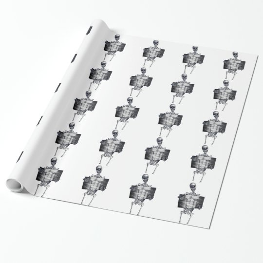 Skeleton Chest Xray White Tiled Wrapping Paper