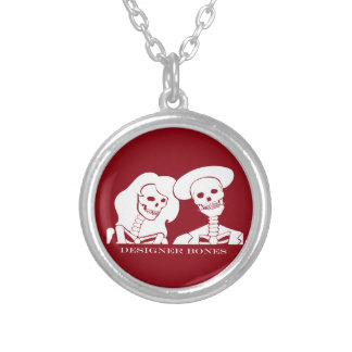 Skeleton Couple White Design Silver Plated Necklace
