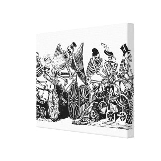 Skeleton Cyclists by José Guadalupe Posada Canvas Print