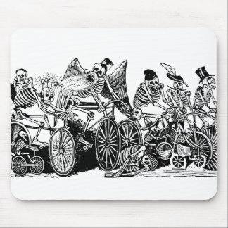 Skeleton Cyclists by José Guadalupe Posada Mouse Pad