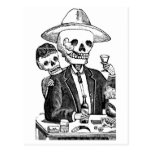 Skeleton Drinking Tequila and Smoking, Mexico Post Card