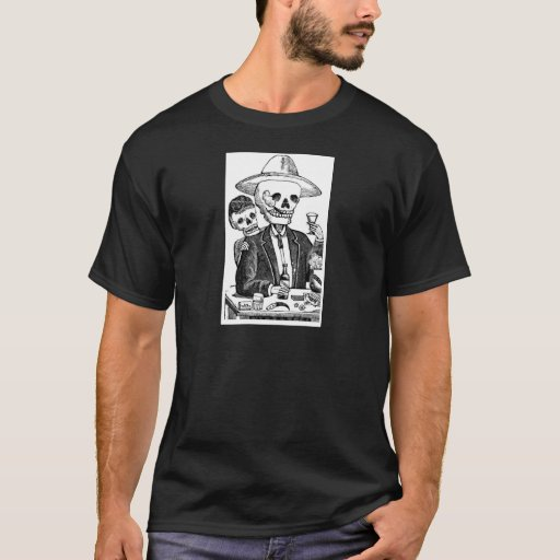 Skeleton Drinking Tequila and Smoking, Mexico T-Shirt