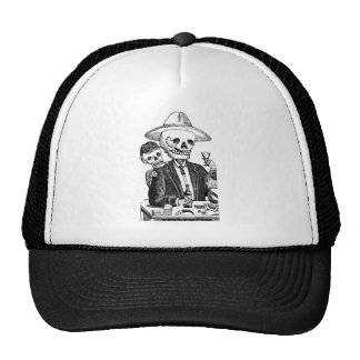 Skeleton Drinking Tequila and Smoking, Mexico Trucker Hat