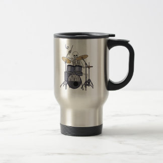 Skeleton Drummer 15 Oz Stainless Steel Travel Mug