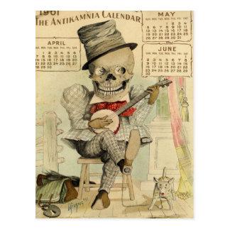 SKELETON Dude, Goth, Banjo Player, 1901 Calendar Postcard
