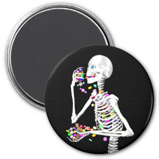 Skeleton Eating Halloween Candy 3 Inch Round Magnet