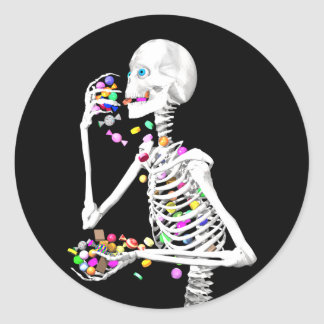 Skeleton Eating Halloween Candy Round Sticker